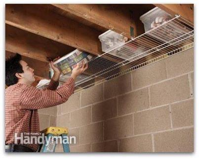 Hang wire closet shelves on the underside of your joists. You can store things in containers with easily.