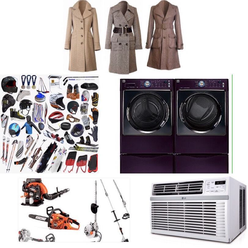 March- winter coats, air conditioners, washing machines and dryers, gardening and landscaping equipment and supplies, winter sports equipment.