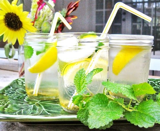 The Bee Keeper  (makes 8 to 10 drinks)  6 tablespoons honey 1/4 cup very warm or hot water 2 cups white rum 3/4 cup freshly squeezed, lemon juice, strained 1 cup fresh lemon balm leaves, loosely packed Club soda to top off (optional, but adds a nice kick) Lemon slices, for garnish