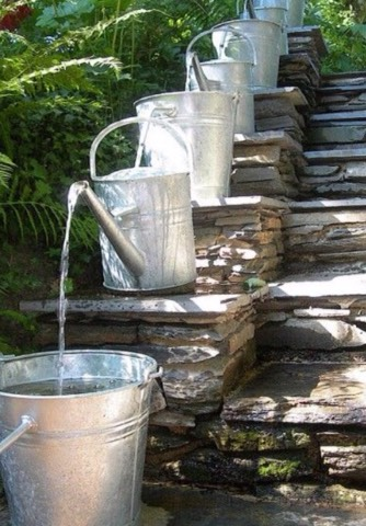 Make your own fountain with watering cans