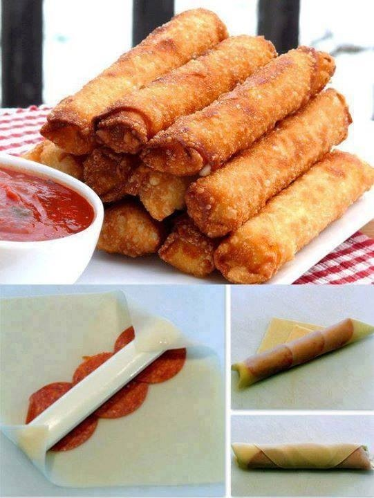 What you need: Egg roll wraps Cheese sticks Pepperoni  Marinara sauce for dipping