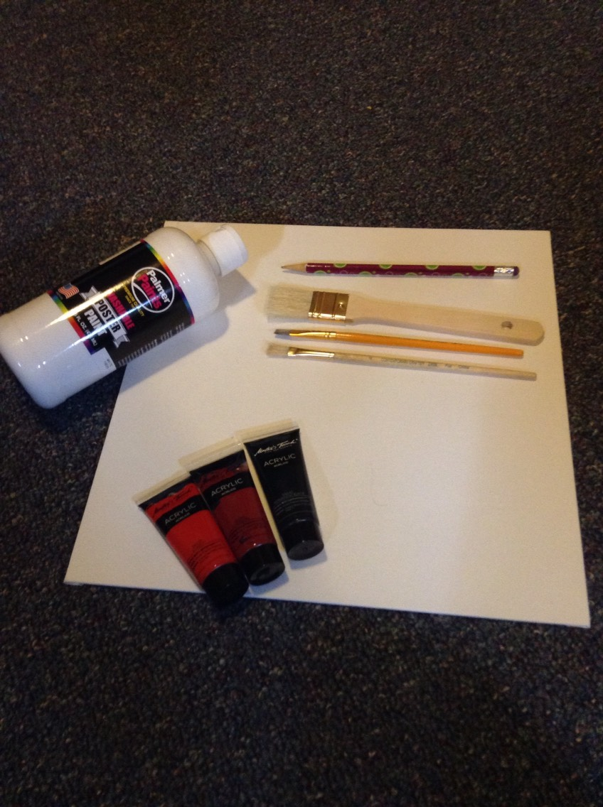 Things you need: white, bright red, dark red or brown, and black paint ; a thick paintbrush or sponge, and a thin paintbrush as well ; A square canvas of any size ; ruler, and pencil.