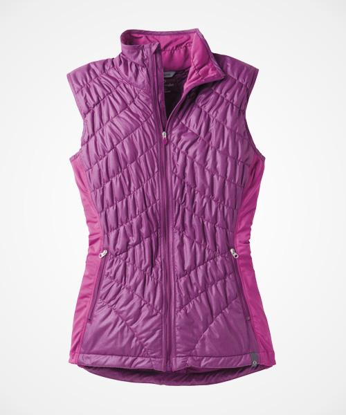 Moving Comfort Sprint Insulated Vest  Keeping your core warm is key to regulating your body temperature in cold conditions. This quilted vest does just that—without restricting your movement. The side panels are made of a lightweight material so you don't feel like the Michelin Man.