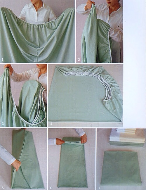 For those who can't stand the scrunching and bunching: how to perfectly fold a fitted sheet.