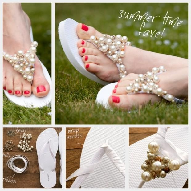 You'll need Ribbon, beads bells and hot glue! Step 1: Wrap the ribbon around the V section of the flip flop Step 2: When the V is fully covered with ribbon add an additional few strips of ribbon across the top of the V section