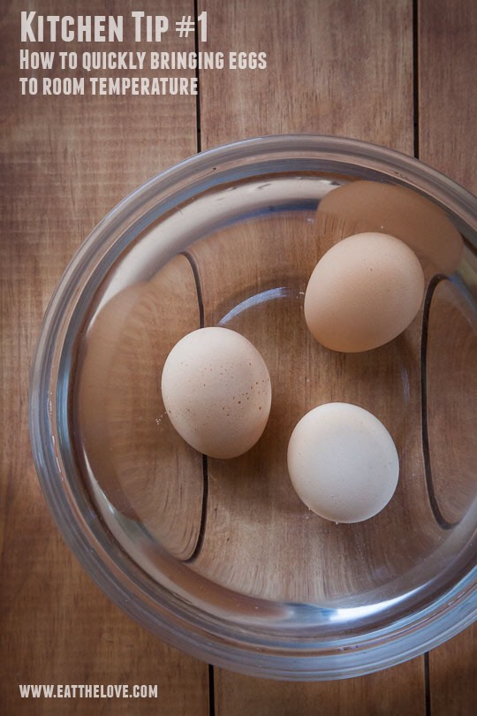 Note:Eggs must be at room temperature for the proteins tounwind enough to support the cake's crumb. Either settheeggs out on the counter for 15 minutes or submerge them in their shells in a bowl of lukewarm (nothot) water for 5 minutes before using.