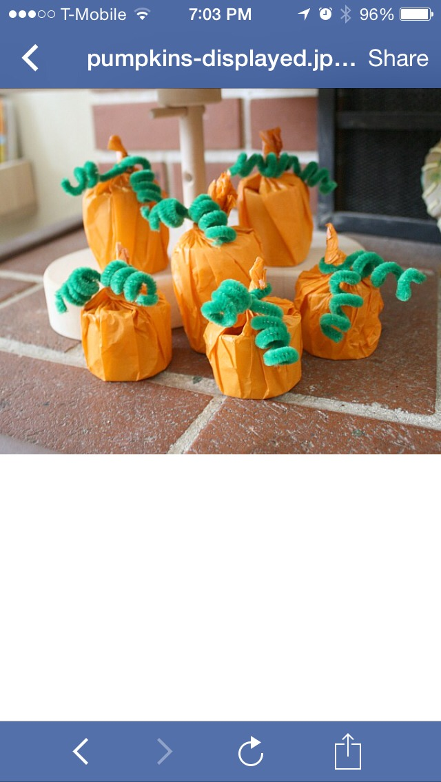 Materials: Cardboard tube (toilet paper roll or paper towel roll) Scissors Orange tissue paper Green pipe cleaners Little treat like wrapped candy or stickers (optional)  Directions 1. Cut your cardboard tube into the size you'd like your little pumpkin to be.