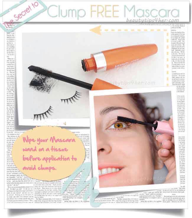 Wipe your mascara before application to avoid clumps.