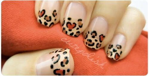 Cheeta Print Nails Paint your nails a base color Place dots of any polish you want a all around your nail,making sure they are not to close together Then draw lines around those dots.
