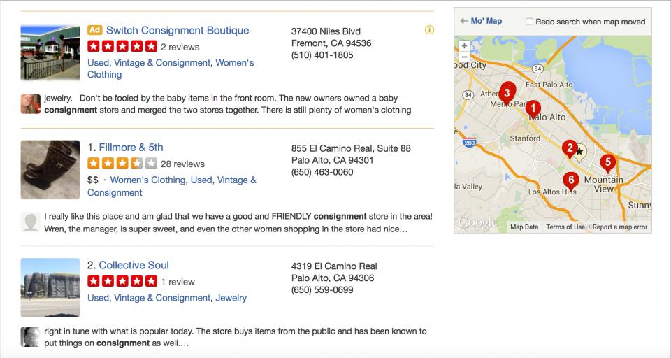 Use Yelp to find nearby vintage and consignment stores.   You never know what you're going to find! Best part is - no one is going to have the same dress or cute sweater. This is a great way to have a unique closet.