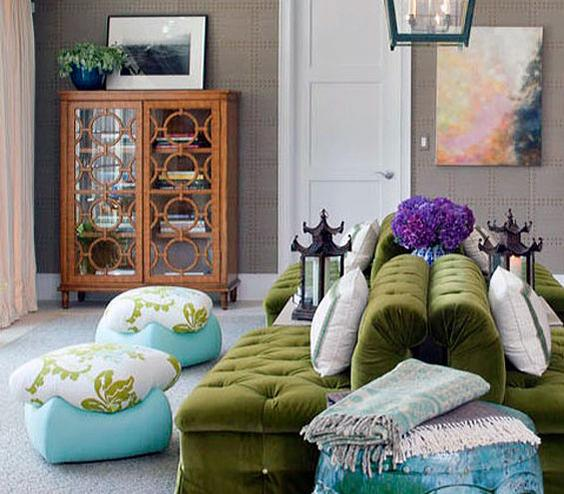 Back-to-Back Create a dynamic seating arrangement by placing a set of sofas in the center of the room and with their backs to each other. It's a bold move that creates two conversation corners.