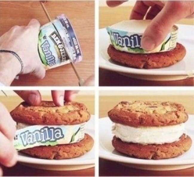 Cut a ice cream tube in half and place it in the middle of two cookies remove the packaging from the ice cream and you have a instant ice cream sandwich