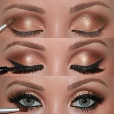 For eyeshadow, stick to dark browns and nudes. Apply a nude eyeshadow all over your lid up to your eyebrows. Put a light color and shimmer on the middle of your eyelid and the inner corner of your eyes. In your crease, use a medium brown eyeshadow. As always with stage makeup, apply a little more