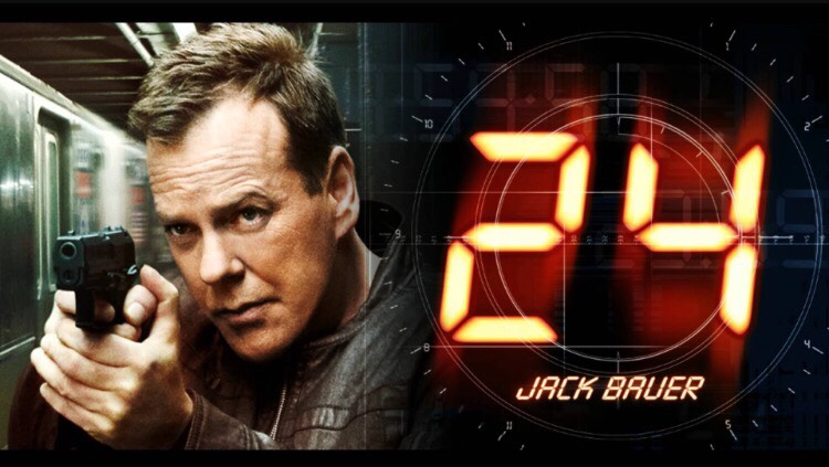 24 is a hard hitting suspenseful action series, each season is 24 episodes, 1 hour an episode. 1 season = 1 day. It's a really cool show and it's my new favourite !