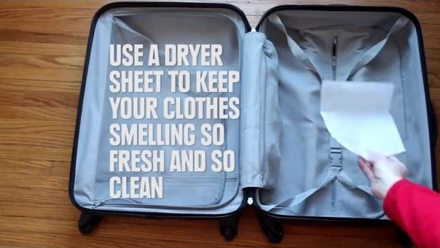 keep your clothes smelling fresh, pop a dryer sheet in your suitcase.