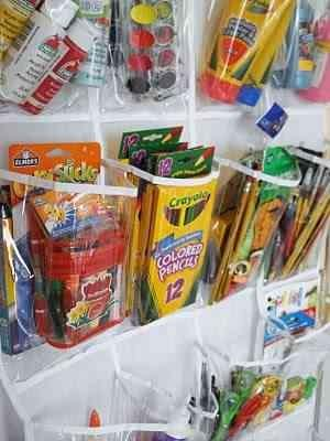 Use an over the door shoe organizer to organize craft supplies!  Please like and share! Thanks!