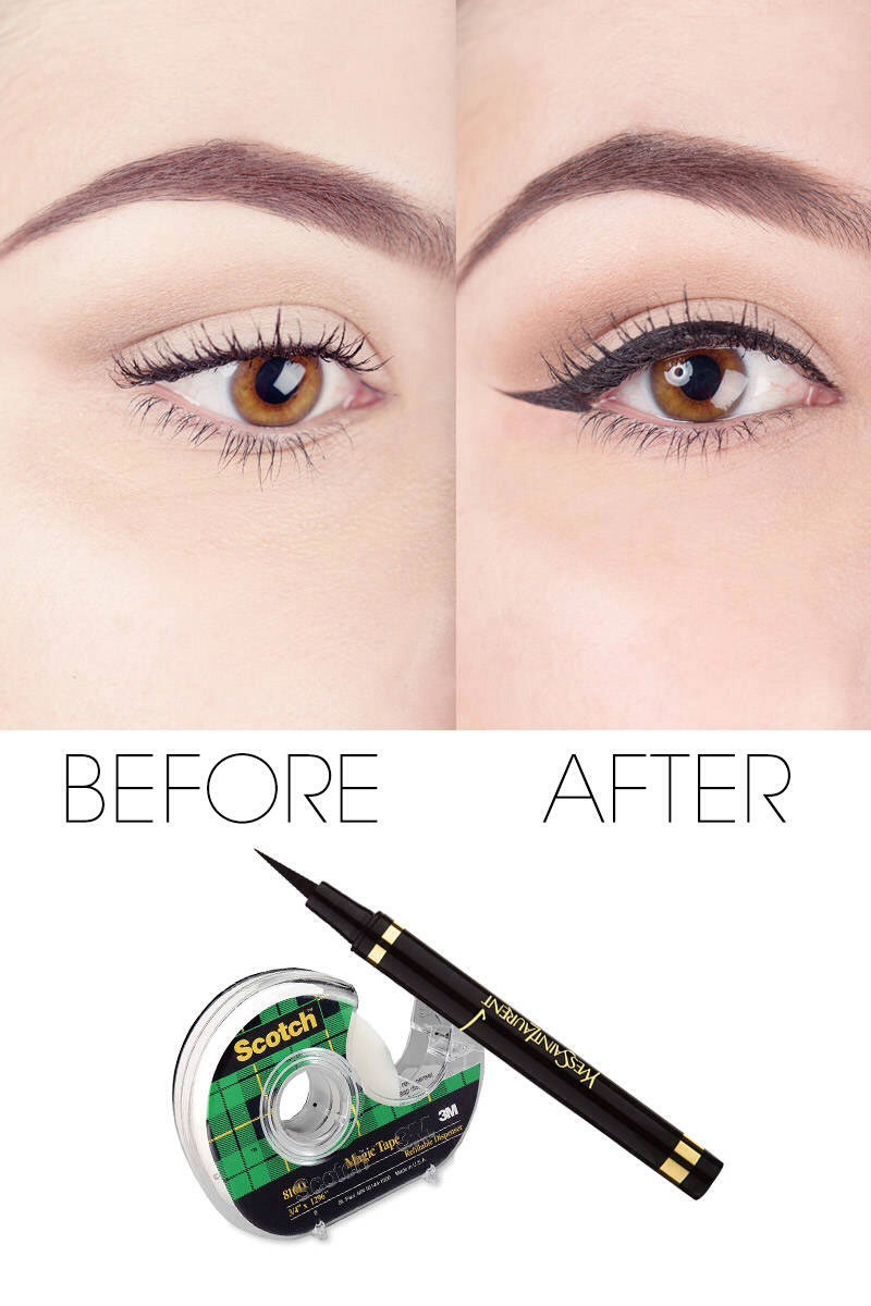 Here's another quick tip: are you bad at applying winged eyeliner, or generally just have an unsteady hand? If so, look no further!  If you're anything like me, I struggle with creating even flicks on both eyes, so this is definitely a total life-saver! All you need is scotch tape!