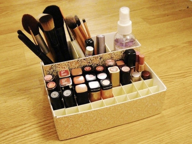 This pretty organizer is made of cereal and oatmeal boxes, but you can use whatever you have on hand.