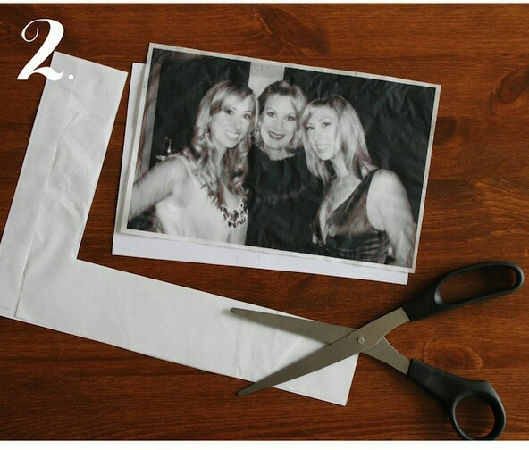 Step 2: Print your desired photograph onto the tissue (just feed the paper with the tissue attached into your printer as usual). Cut out, leaving little a border around your image.
