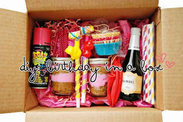 Birthday in a box! Include cupcake papers, birthday candles, a small gift such as nail polish, silly string, champagne, balloons, streamers etc!
