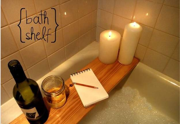Place a plank across the tub for a writing/candle place.