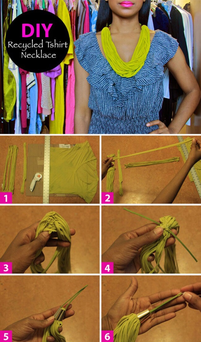 4. DIY Recycled t-shirt necklace