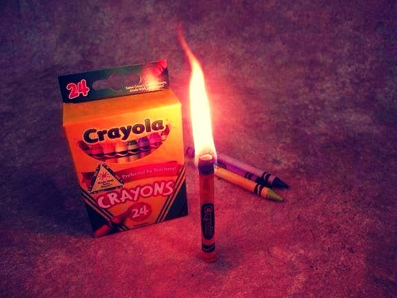 In a emergency, a crayon will burn for about 30 minutes.