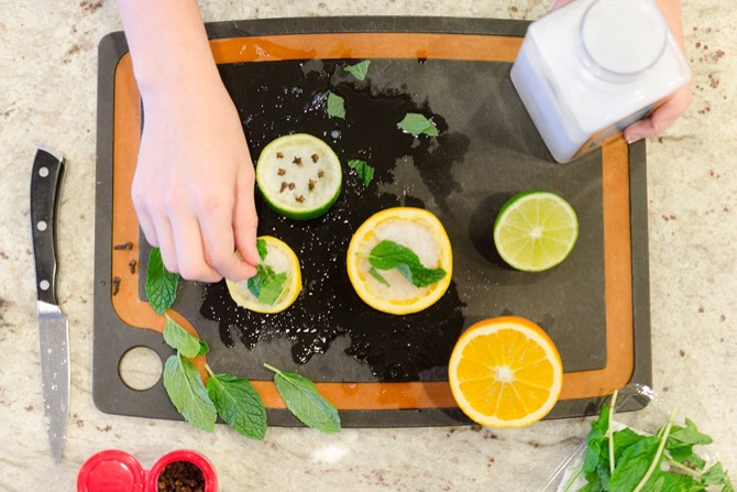 MAKE AN AIR FRESHENER WITH SEA SALT & CITRUS RINDS | Scoop out the insides of lemons & limes with a knife or spoon, & fill halves with sea salt.