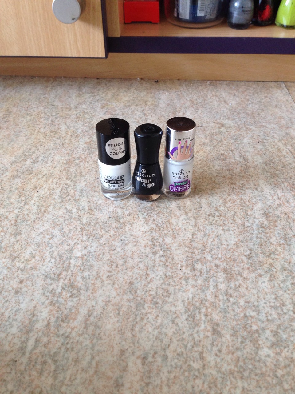 White base coat Black nail polish  Pastel ombré nail polish