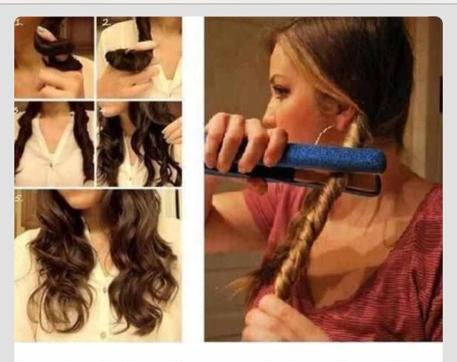 1. Divide hair into two parts 2. Braid each section and tie 3. Twist a section 4. Run your straightener/ flat iron over the twist a few times 5. Untie twists and you're done