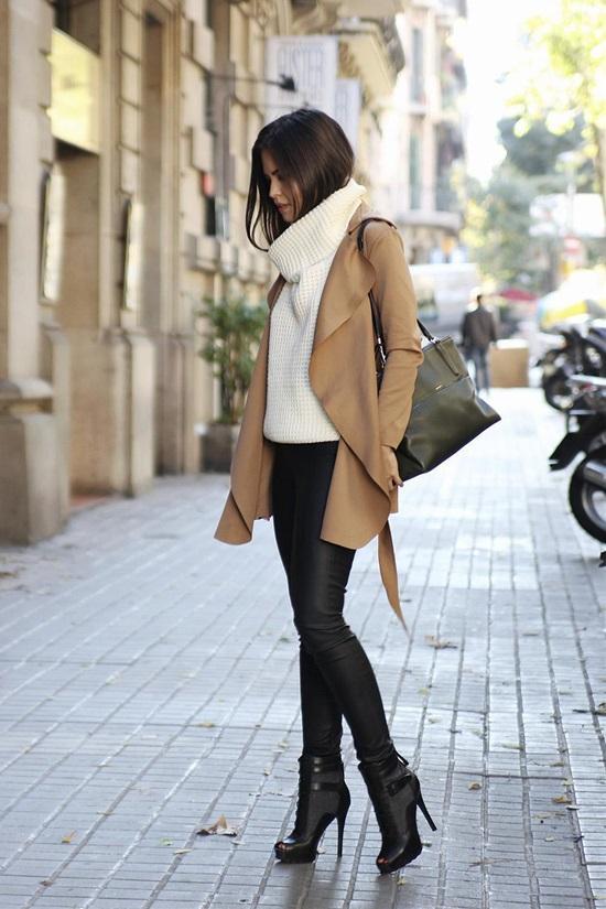9. Drapey Waterfall Camel Coat Zoe Leather Look Leggings