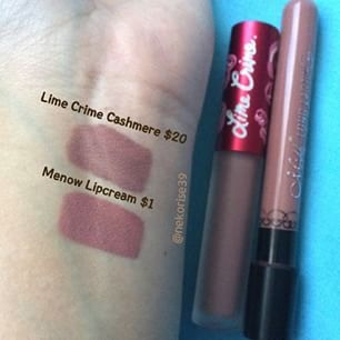 This dupe is $1. Yes, ONE dollar! You can find these on eBay and lots of other sites as low as $1. This is the Me Now Generation II lip cream in shade #17. It is slightly more pink but once again, on the lips it's near identical. This is also great to see if this sort of color would suit you!