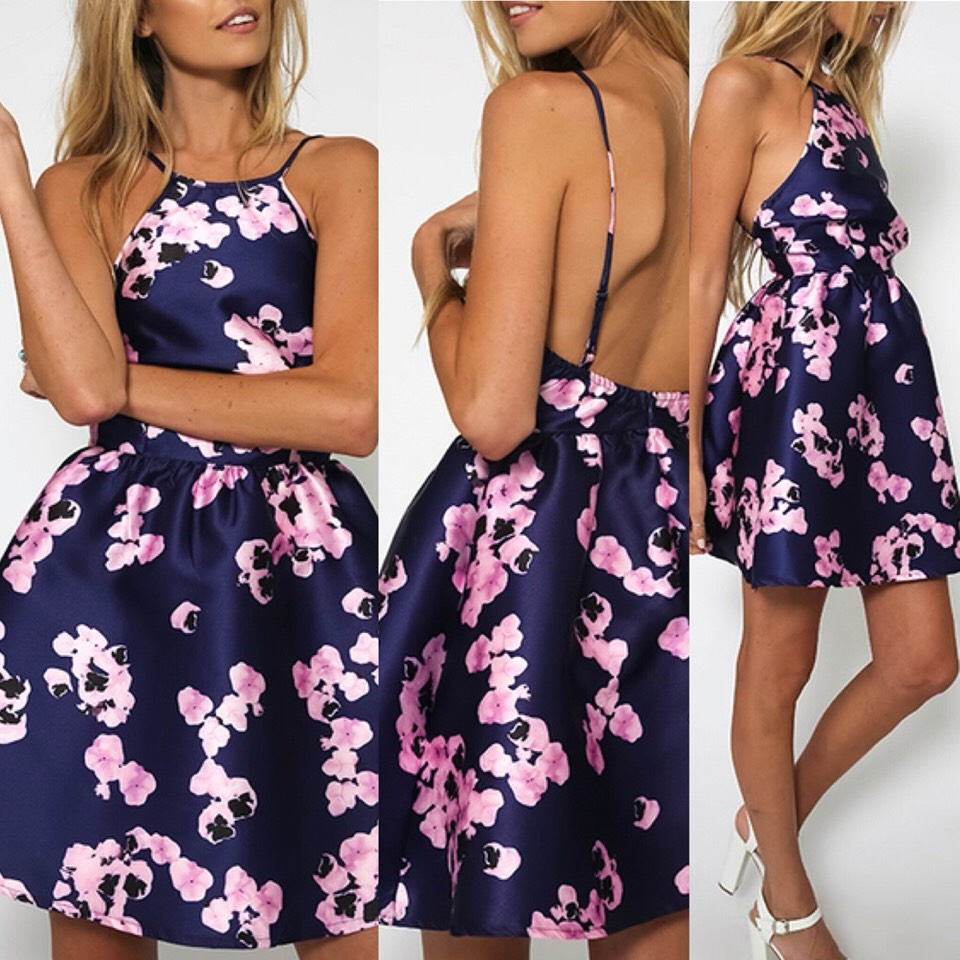 $12.99 http://m.romwe.com/Spaghetti-Strap-Backless-Florals-Flare-Dress-p-151253-cat-722.html