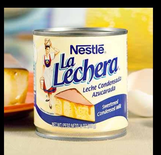 Put a small can of la lechera on blender