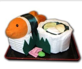 """Baby sushi. Fill the diaper """"California roll"""" with onesies!"""