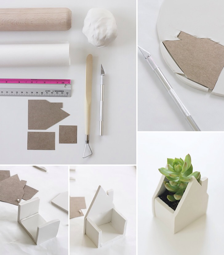 What you need:  Tools: Knife Smoothing tool Ruler (optional Supplies/Ingredients: Oven-bake clay Rolling pin Non-stick baking paper House template printed and cut out (optional)