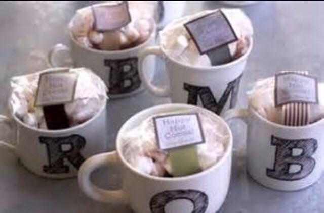 Buy or make custom mugs you can use sharpie on mugs and then bake in oven for a custom letter mug and depending on what hot drinks they like fill it with packets (tea hot cocoa)