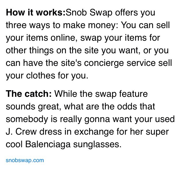 Check out their website here: https://snobswap.com/