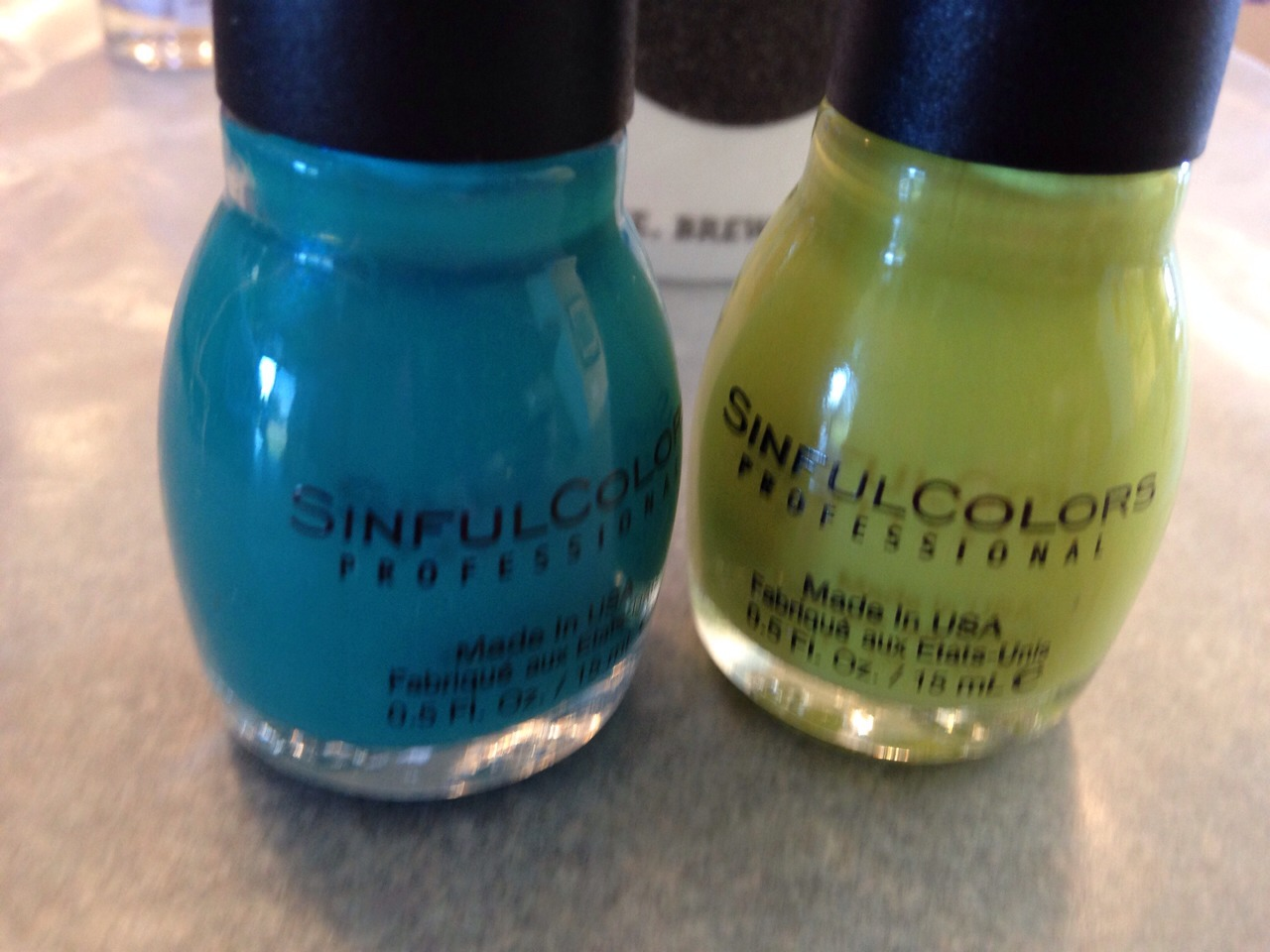 """I used sinful colors the teal is  called """"rise and shine"""" and the green is called """"innocent"""""""
