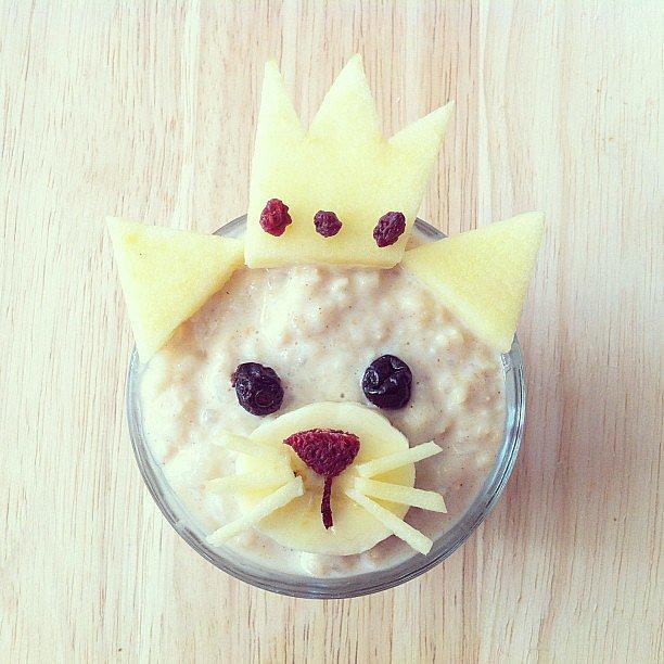 Royal Oats It's a cat, it's a princess — it's fruit-topped cinnamon oatmeal!