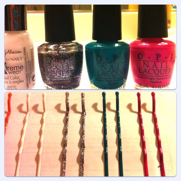 You can nail polish paint your bobby pins whatever color you desire! Match it with your outfit!😀                 👍dont forget to like it👍