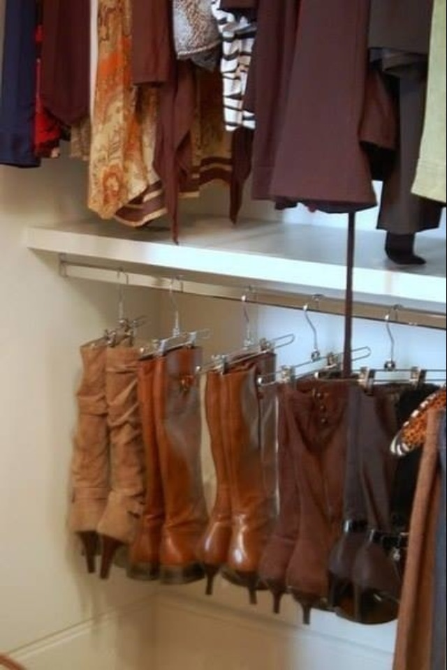 Hang boots with pant hangers