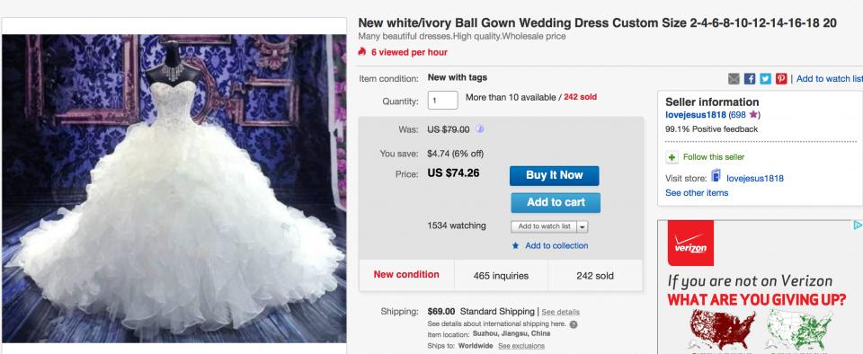 Buyer beware! If a listing says 'custom made from China', note that these dresses are replicas of designer gowns that are reproduced and shipped over from China. There is absolutely no guarantee that the final product will look anything like it's supposed to.