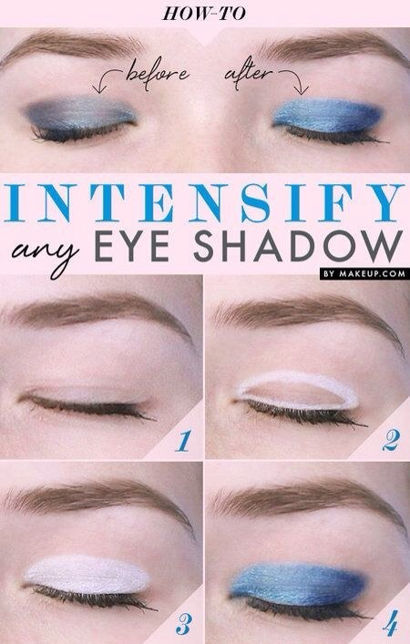 If you really want your eye shadow color to pop, use this trick. Apply white eyeliner all over your eyelid. Then apply your favorite shadow. The white will help to intensify the color.💙