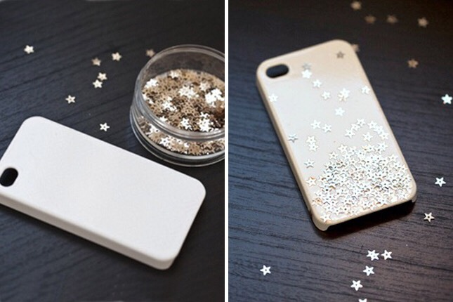 16. Starry Case: Instead of using Mod Podge, this tutorial uses clear spray paint and then sprinkles a bunch of star-shaped glitter right on the case. Very cool.