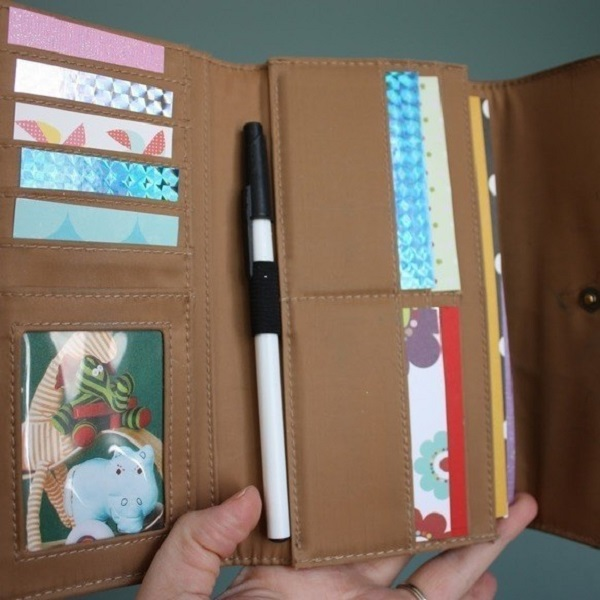Make a fun wallet for when you go out to restaurants to keep fidgety kids occupied.