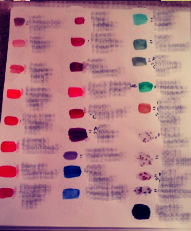 Paint a piece of paper with all your nail polishes, to see what they look like dried (rather than wasting nail polish) and to see what you have!!