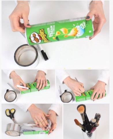-Thoroughly clean inside of desired size of Pringles canister, &peel label -Mark level where you'd like in regards to heightwith a sharpie or somethingvisible -Over cutting board (usesurface that won't letcanister roll) &slice, using your marking as guide -Cover outside -Voila,stuff holder