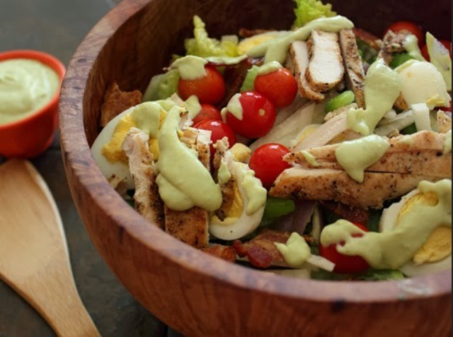 Have a big healthy filling salad, use regular dressing or olive oil and vinegar just go easy with it