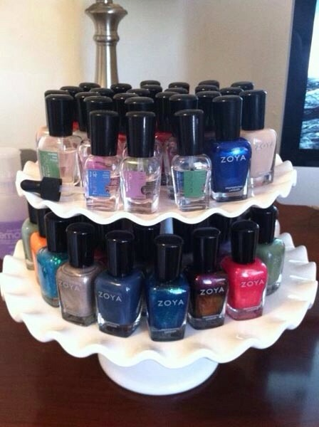 Use a dessert tray to display and organize your nail polishes!